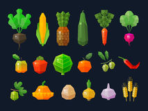 Fresh fruits and vegetables set colored icons Stock Photos