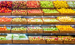 Fresh fruits and vegetables on shelf in supermarket Royalty Free Stock Photography