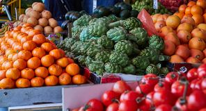 Fresh fruits and vegetables are sold at the Carmel open market in Tel Aviv, Israel. East market royalty free stock image