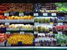 Fresh fruits and vegetables sold in a grocery store Royalty Free Stock Photo