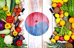 Fresh fruits and vegetables from South Korea royalty free stock photo