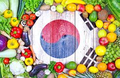 Fresh fruits and vegetables from South Korea royalty free stock images