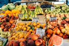 Fresh fruits and vegetables in street market stock photography