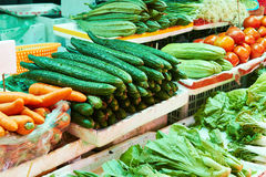 Fresh fruits and vegetables in supermarket stock photos
