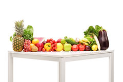 Fresh fruits and vegetables on a table Stock Photo