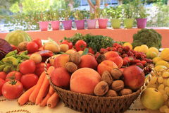 Fresh fruits and vegetables on a table Stock Images