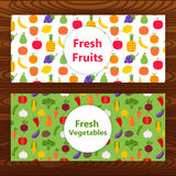 Fresh fruits and vegetables Web banners on wooden texture Stock Photo