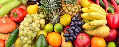 Fresh fruits and vegetables. On white background royalty free stock images