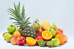 Fresh Fruits and vegetables on white background Stock Photos
