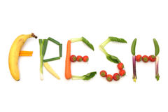Fresh fruits and vegetables. The word fresh written using fruits and vegetables stock image