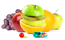 Fresh fruits with vitamins Stock Images