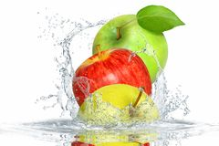 Fresh fruits in water Royalty Free Stock Photography