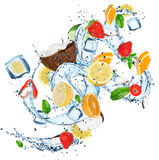 Fresh fruits with water splash. Royalty Free Stock Image