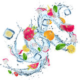 Fresh fruits with water splash. Royalty Free Stock Photo