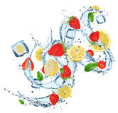 Fresh fruits in water splash Royalty Free Stock Image