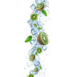 Fresh fruits in water splash Stock Images