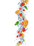 Fresh fruits with water splash. Royalty Free Stock Images