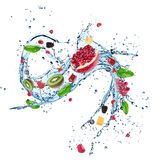Fresh fruits in water splash Royalty Free Stock Images