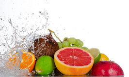 Fresh fruits with water splash Royalty Free Stock Photos