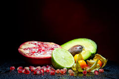 Fresh fruits with waterdrops on them Stock Photos