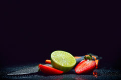 Fresh fruits with waterdrops on them Royalty Free Stock Photo