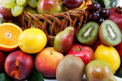 Fresh fruits  on a white background. Royalty Free Stock Photo