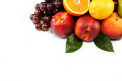 Fresh fruits  on a white background. Stock Photos