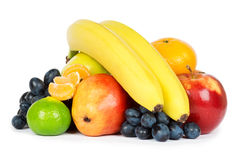 Fresh fruits. On white background royalty free stock photography