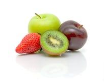 Fresh fruits on white background close-up Stock Images
