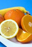 fresh fruits on white plate Stock Photo