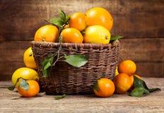 Fresh fruits in wicker basket Royalty Free Stock Image