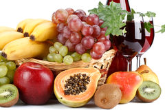 Fresh fruits and wine Stock Images