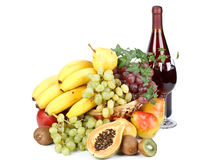 Fresh fruits and wine Stock Photos