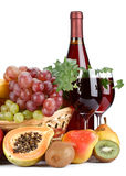 Fresh fruits and wine Royalty Free Stock Photo