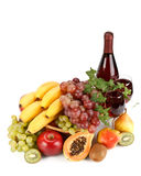Fresh fruits and wine Royalty Free Stock Images