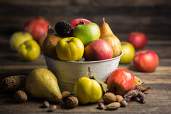 Fresh fruits. On the wooden table Royalty Free Stock Images