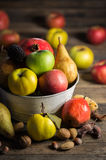 Fresh fruits. On the wooden table Royalty Free Stock Photography