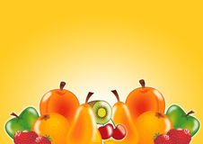 Fresh fruits in yellow Stock Images