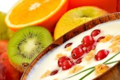 Fresh fruits and yogurt Stock Images
