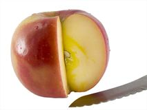 Fresh Fuji Apple And A Knife Stock Photos