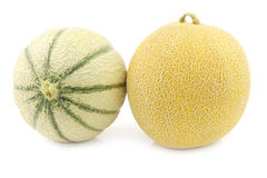 Fresh galia melon and a cantaloupe melon Royalty Free Stock Images