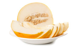 Fresh galia melon halves Royalty Free Stock Photo