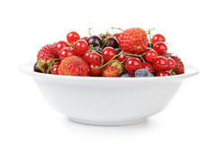 Fresh garden berries in bowl Stock Photography