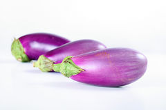 Fresh from the garden eggplant on white Royalty Free Stock Photography