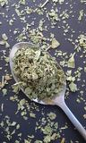 Fresh garden herbs. Marjoram on spoon over kitchen table. royalty free stock photography