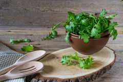 Fresh garden organic arugula, ruccola  in bowl  on rustic background ready for salad. Royalty Free Stock Image