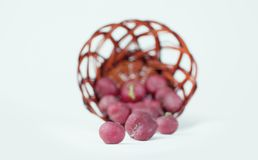 Fresh garden radish in wicker basket. Selective focus. Isolated on white.photo with copy space Royalty Free Stock Photos