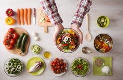 Fresh garden salad bowl Stock Image