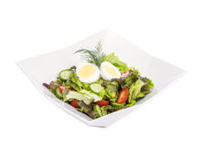 Fresh Garden Salad with a Hard-boiled Egg on Top #1 Royalty Free Stock Photo