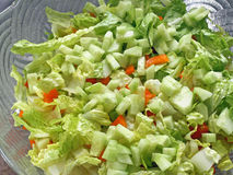 Fresh Garden Salad with Romaine lettuce, orange bell pepper and cubed cucumber Stock Photography